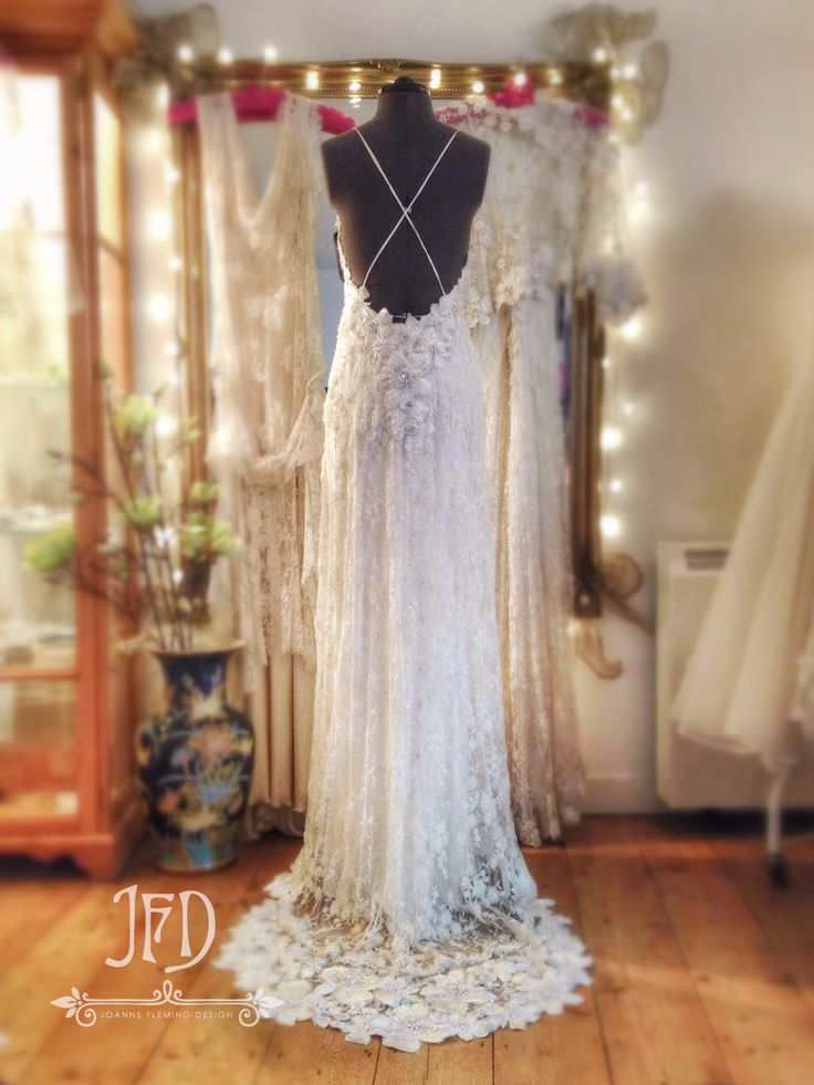 Joanne fleming design ivory beaded appliqued lace low for Full length slip for wedding dress