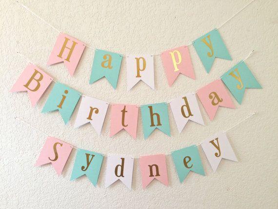 Happy Birthday Banner Gold Foil Birthday Banner by PartyLemonade