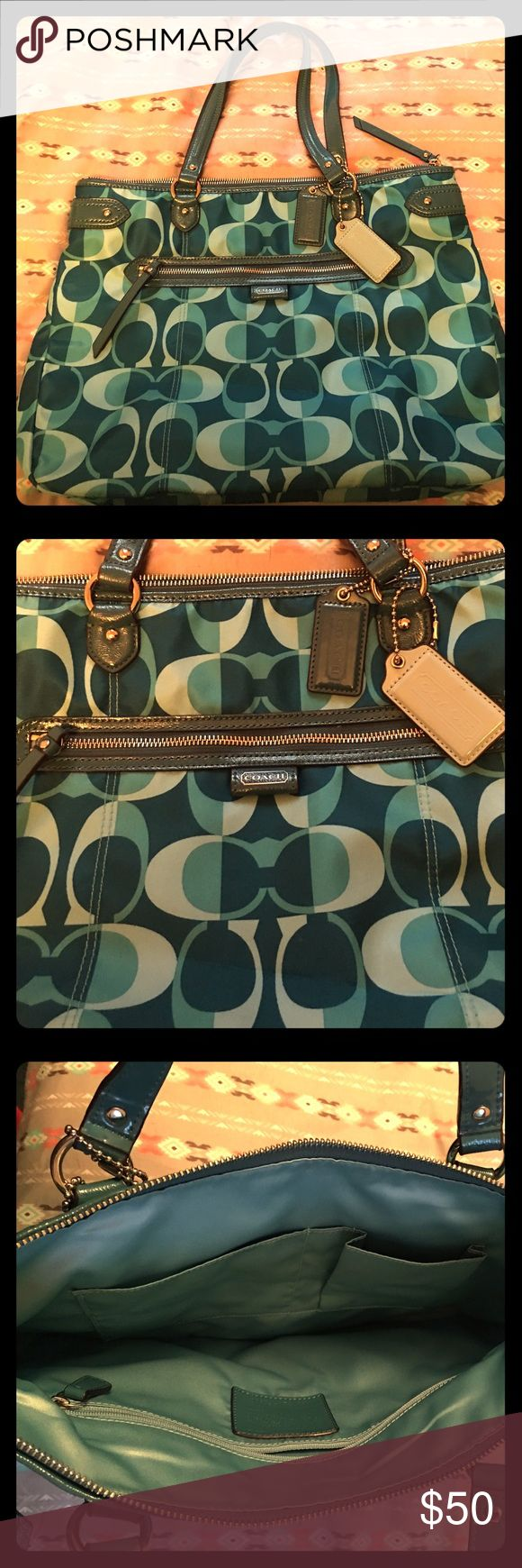 Coach Tote Bag Adorable teal Coach Tote Bag. Like new - only used 1 - 2 times. Coach Bags Totes