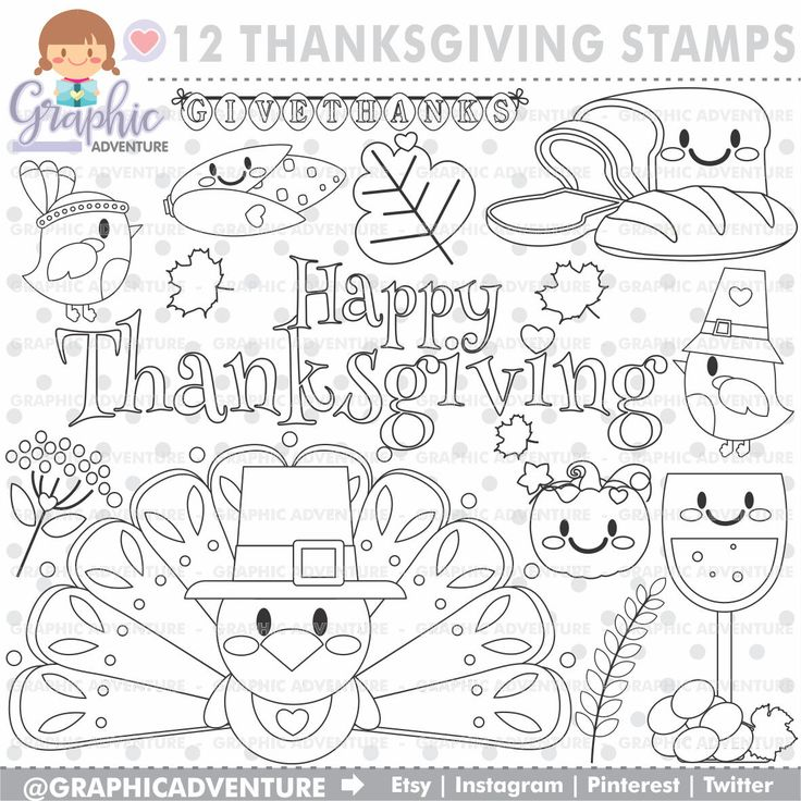 75%OFF - Thanksgiving Stamp, COMMERCIAL USE, Digi Stamp, Digital Image, Thanksgiving Digistamp, Thanksgiving Coloring Page, Thanksgiving
