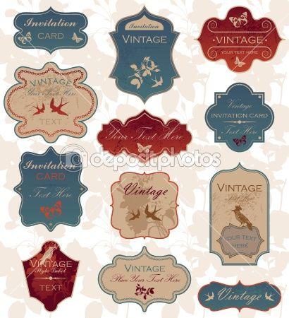 Grunge vintage label set by Victoria Barinova - Imagen vectorial