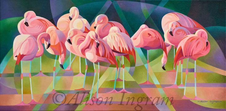 A Flamboyance of Flamingos Image Size 60 x 30cm Oil on Canvas Currently on show at Slimbridge WWT Contact Alison about this painting Back to Gallery