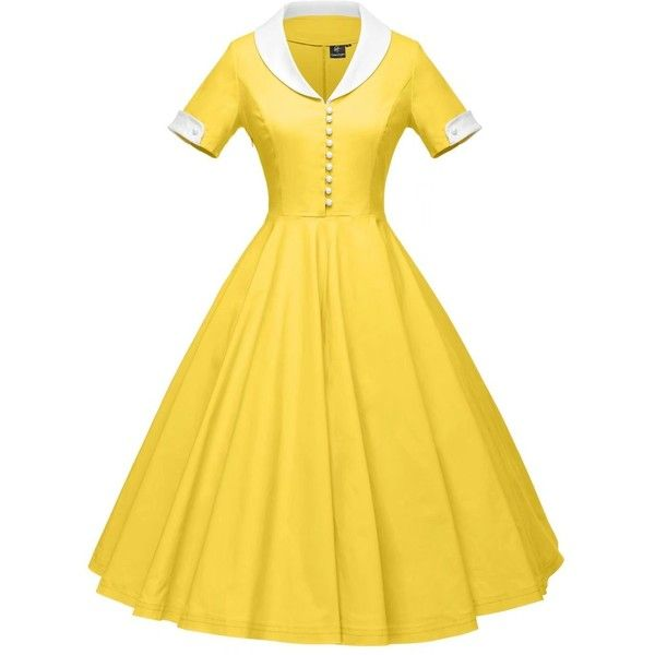 GownTown Womens 1950s Cape Collar Vintage Swing Stretchy Dresses ($20) ❤ liked on Polyvore featuring dresses, stretchy dresses, yellow vintage dress, vintage day dress, collared dresses and stretch dresses