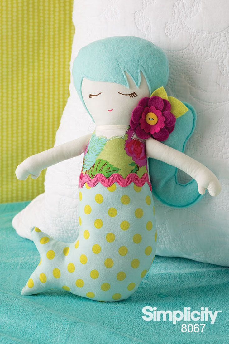 Sew a sweet huggable mermaid doll with Simplicity 8067 designed by Emmi's Cottage!