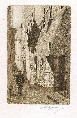 Telemaco Signorini acquaforte, La casa di Dante Castiglione, 1874