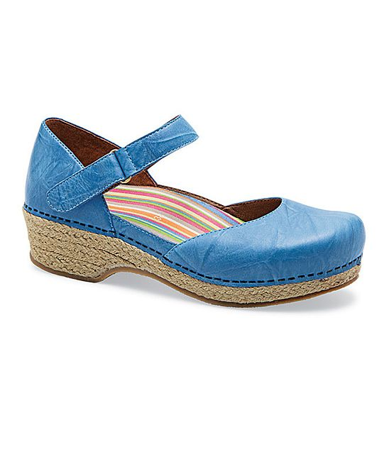 jute clog mary jane in soft blue