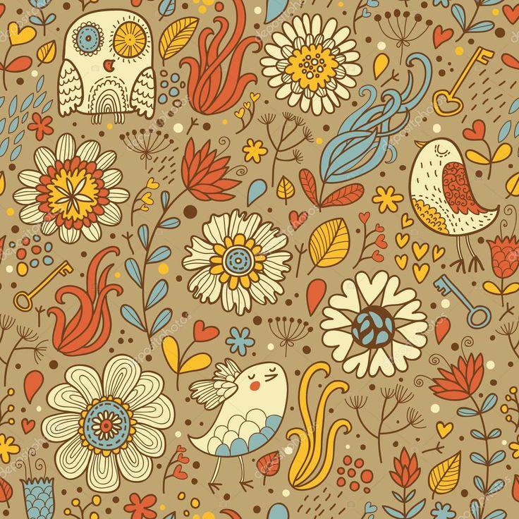 Винтаж бесшовный паттерн с птицы и цветы