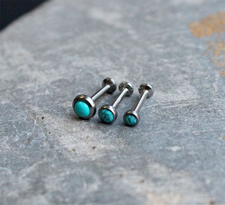 Turquoise Stone Helix Cartilage Flatback Earring,Internal Thread Surgical Steel Piercing, 16G,18G,Triple Helix Tragus, Conch, Lip Ring, by Purityjewel on Etsy https://www.etsy.com/listing/242922044/turquoise-stone-helix-cartilage-flatback