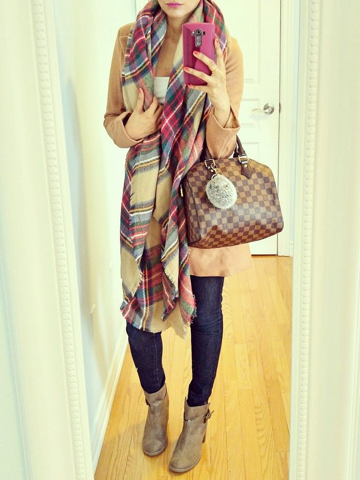 Plaid Blanket Scarf, Camel Coat, Tan Booties, Dark Skinny jeans and Louis Vuitton Damier Ebene Speedy 25 bag | Ella Pretty Blog