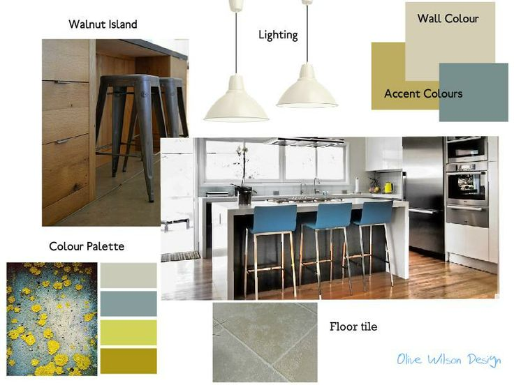 Walnut And Grey Kitchen Interiordesign Moodboard Sampleboard Created On