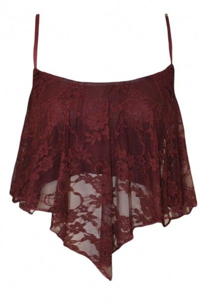 Wheretoget - Burgundy red lace crop top