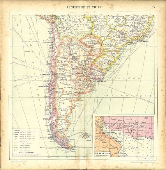 South America Vintage Map Argentina Chile by CarambasVintage