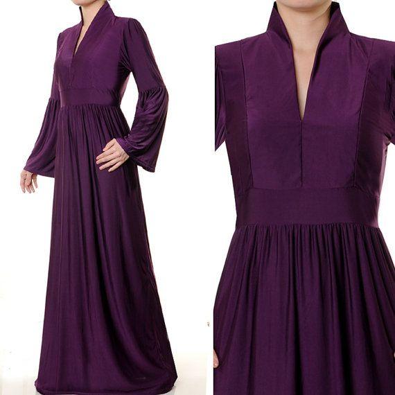 2466 Purple VNeck Mandarin Muslim Islamic Abaya Long by MissMode21, $35.00