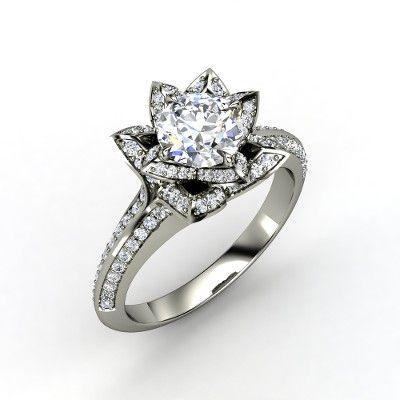 round diamond white gold ring with diamond brilliant lotus ring - Lotus Wedding Ring