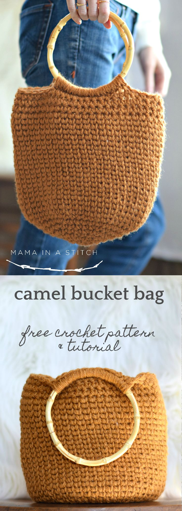 Camel Bucket Bag – Crocheted Bag Pattern via @MamaInAStitch