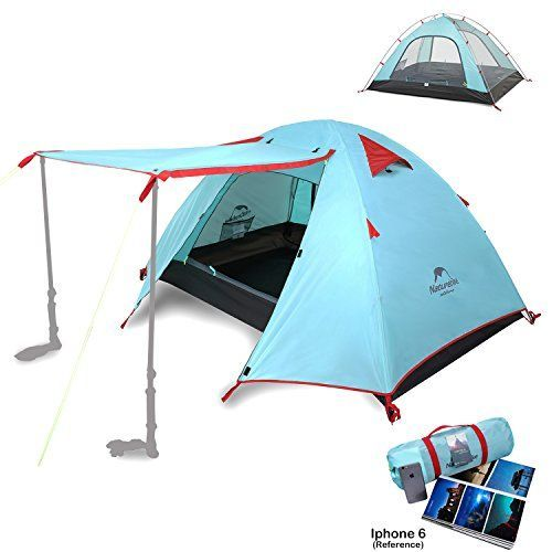 Topnaca 2-4 Person 3 Season Backpacking Tent Waterproof Awning Design Two Doors Double Layer with Aluminum Rods for Outdoor Camping Family Beach Hunting Hiking Travel (Cyan Blue, 3 Person)