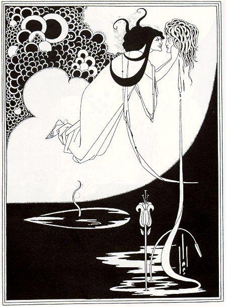 "Aubrey Beardsley's illustration was inspired by Oscar Wilde's play ""Salome"". More information: http://en.wikipedia.org/wiki/Aubrey_Beardsley"