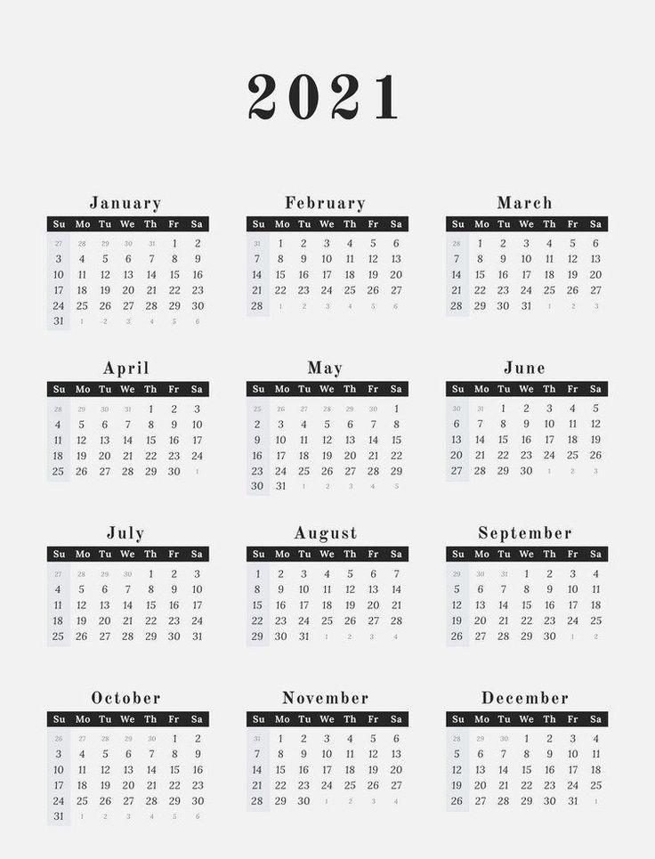 2021 Calendar Printable   12 Months All in One   Calendar ...