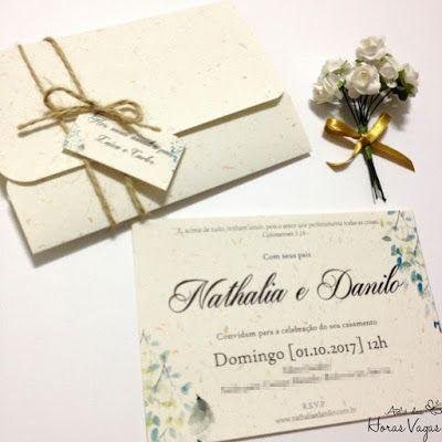 convite de casamento ou aniversário rústico estampa folhagens papel reciclado com brilho