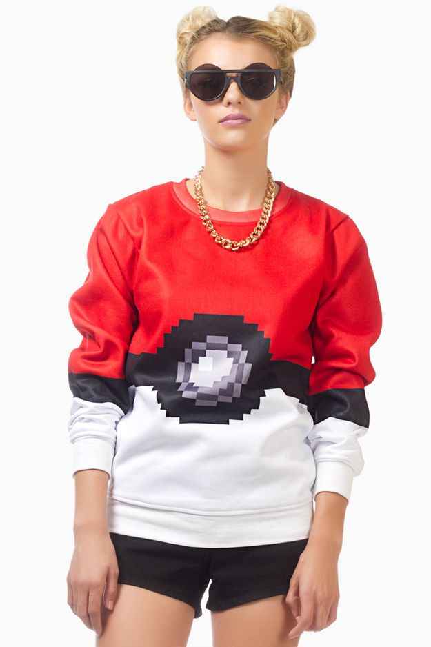 This unbelievably cool Pokemon sweatshirt: | 28 Wardrobe Essentials For Female Gamers: