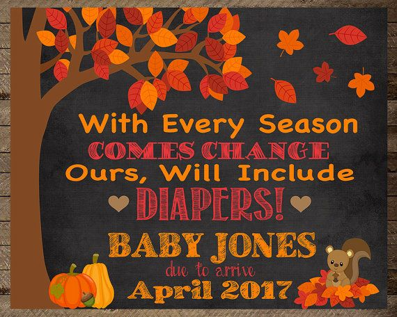 Fall baby, pregnancy photo, baby announcement, pregnancy announcement sign…