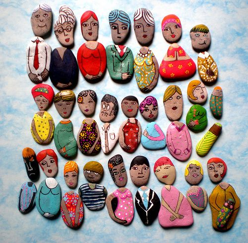 Steine bemalen - verschiedene Figuren