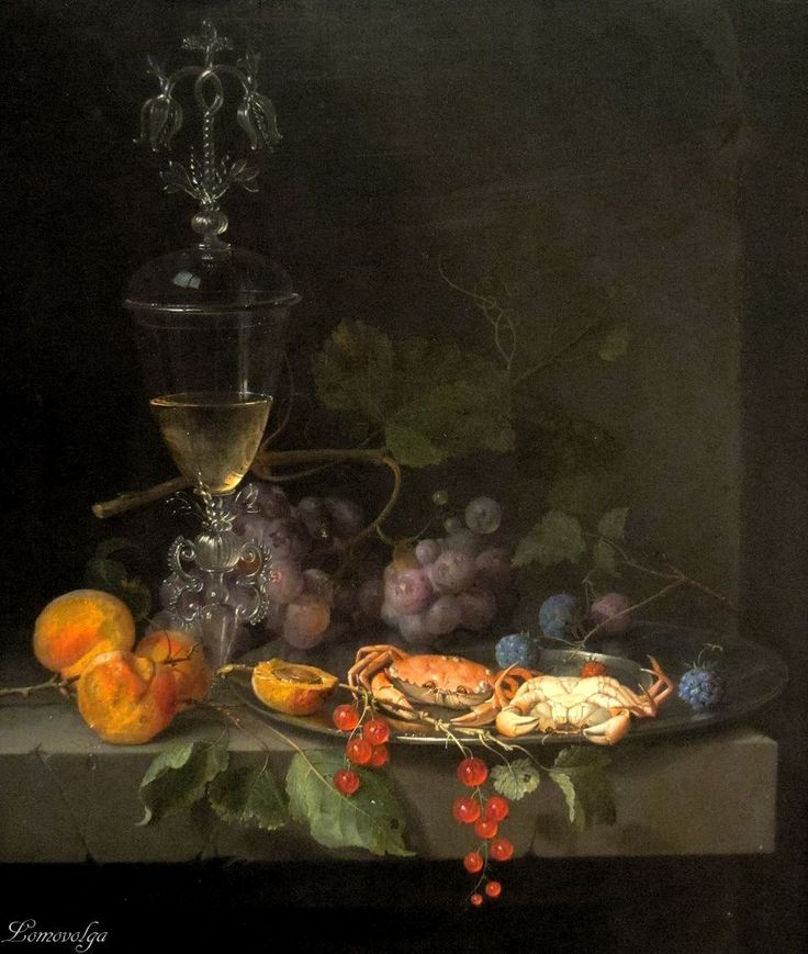 Still Life with Crabs on a Pewter Plate by Abraham Mignon circa 1669-72 M. H. de Young Memorial Museum