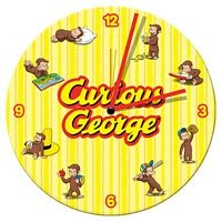 curious george 135 cordless wood wall clock