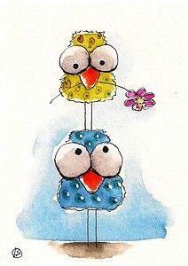 ACEO Original painting folk art Lucia Stewart whimsical spring birds flower