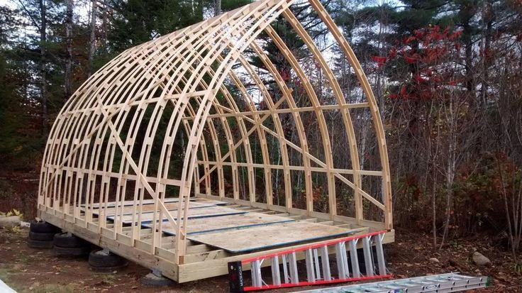 Hoop quonset hut type building for temporary living for A frame hut plans