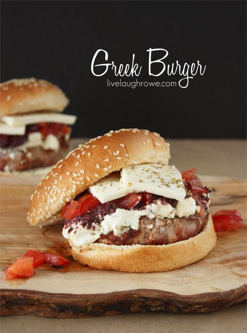 Delicious Greek Burger made with Ground Turkey and two of my favorite Greek ingredients: tzatziki and Greek olives.