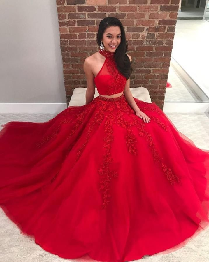 870eea96fd5f Two Piece Red Lace Applique Halter Choker Neck Prom Dresses Evening Dresses