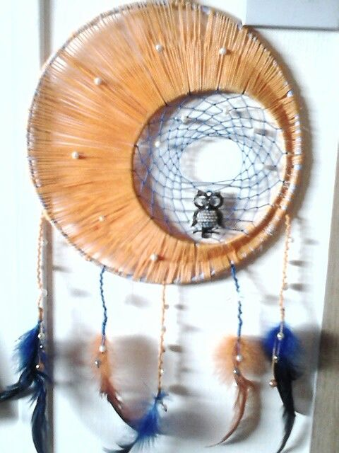 Moon dream catcher with owl