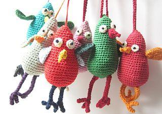 Crochet Bird - free crochet pattern by Lidar Artzi. Here is a tutorial on making the leg tubes:  http://www.ravelry.com/patterns/library/tunisian-crochet-tubes