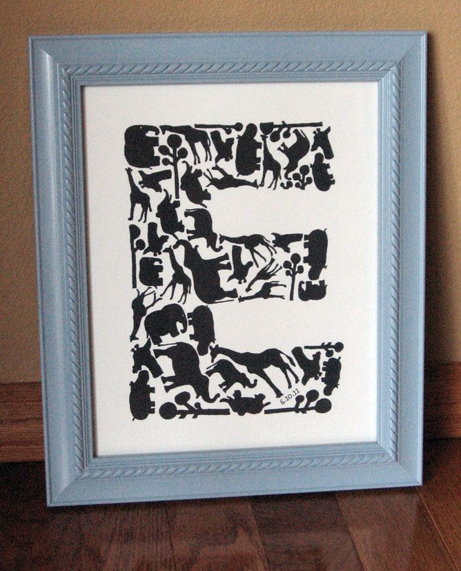 Personalized Nursery Letter Art. Trace different shapes to form a letter. (Would also make a good monogram wedding gift.)