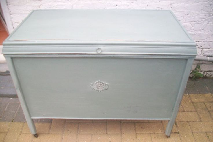 1930s Utillity Chest Trunk Painted in Annie Slaone Duck Egg Blue