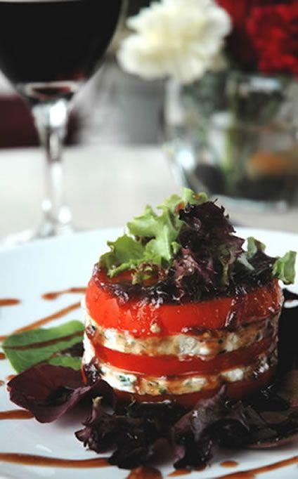 Caprice Salad Recipe: arugula, red lettuce, tomatoes, mozzarella cheese, basil, balsamic vinegar