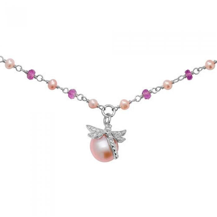 925 SILVER CZ-PINK FRESHWATER PEARL DROGONFLY NECKLACE - Attenborough Pawnbrokers & Jewellers
