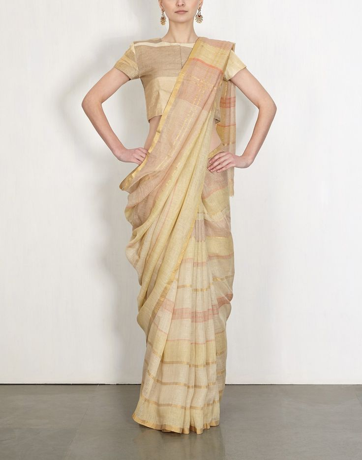 Sunset Gold Grid Linen Sari-Anavila- img1