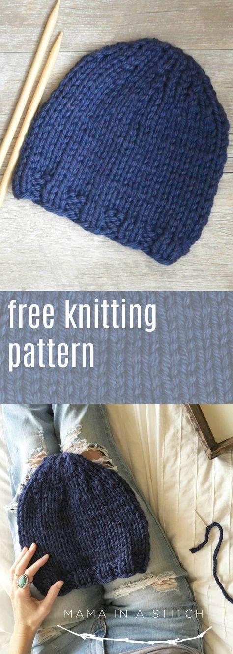 Este padrão de tricô de chapéu super fácil é perfeito para iniciantes! É uma malha plana ...