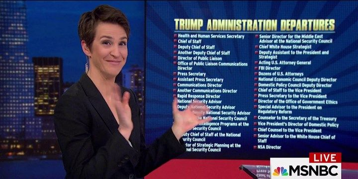 Rachel Maddow adds a new set of names to the already unprecedentedly long list of high-level Trump administration staffers who have left their positions, from the vice president's office to the NSA.