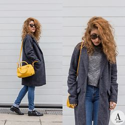 Diana Manolova - Only Oversized Coat, Zara Polo Neck Sweater, Zara Jeans, Zara Shoes, Mango Mini Bowling Bag, Urban Outfitters Sunglasses - Bring Colour in Your Grey World