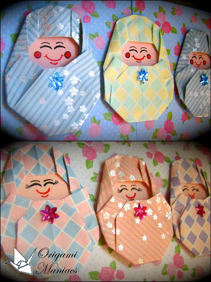 Origami Babies/Bebes From the Book Kawaii Kireina Origami - folded by Mariela Recinos