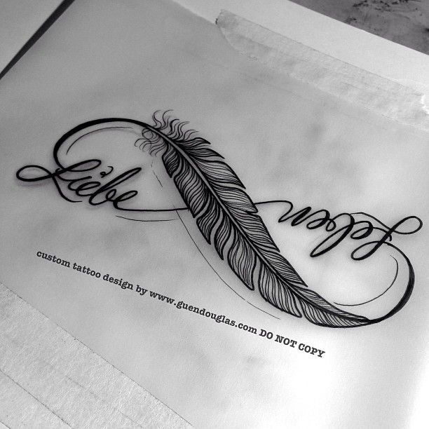 1 of 2 for tomorrow... Ending tomorrow with this little liebe/leben infinity feather combo... Hope she likes :) #itsnotallwayscats #feather #liebe #leben #infinity #tattoo #tattoos