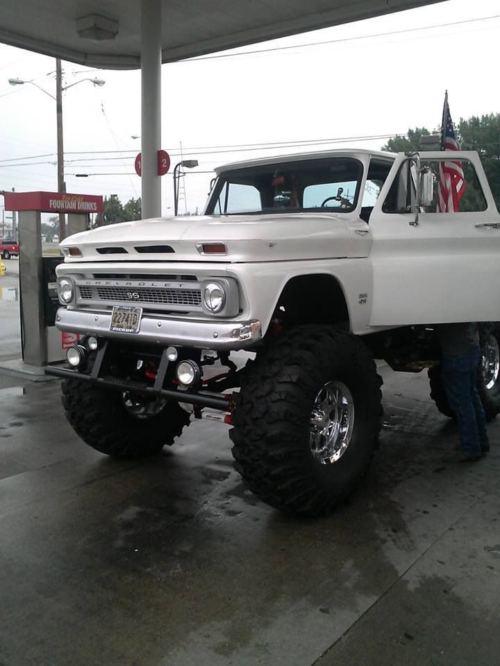 jacked up white chevy trucks - photo #37