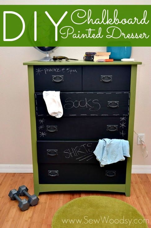 DIY Chalkboard Painted Dresser | Sew Woodsy/ I need this for my boys...they just don't seem to get the whole concept of putting things where they belong!