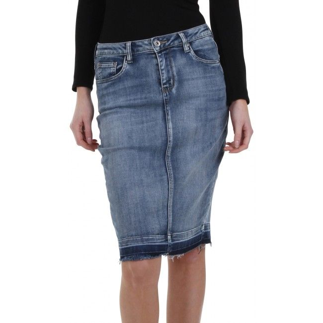 fashionable knee length stonewash denim pencil