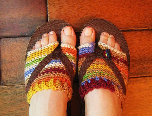 crochet free flip flop sock pattern