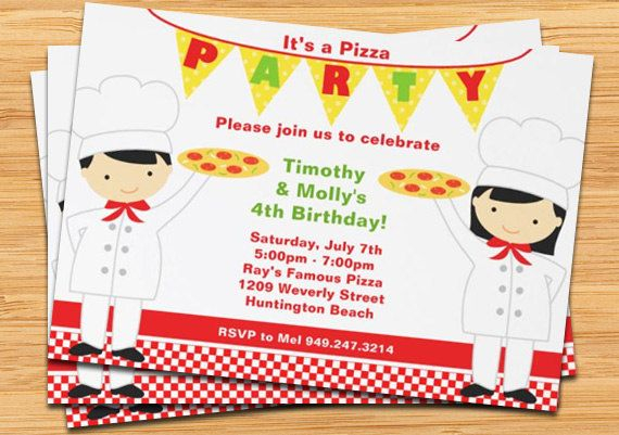 Pizza Birthday Party Invitation  Printable by eventfulcards, $15.99