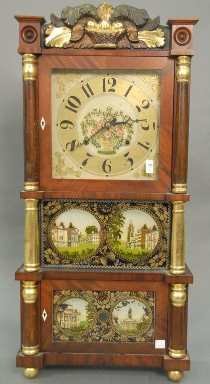 "Federal mahogany triple decker shelf clock with gilt columns, ht. 37 1/2"". - Realized Price: $2,012.50"